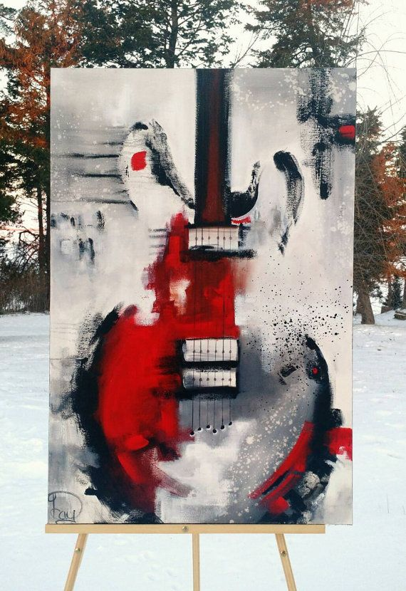 Guitar painting, original abstract painting on canvas by Heather Day Paintings on Etsy.  https://www.etsy.com/listing/262230486/guitar-painting-abstract-painting-red