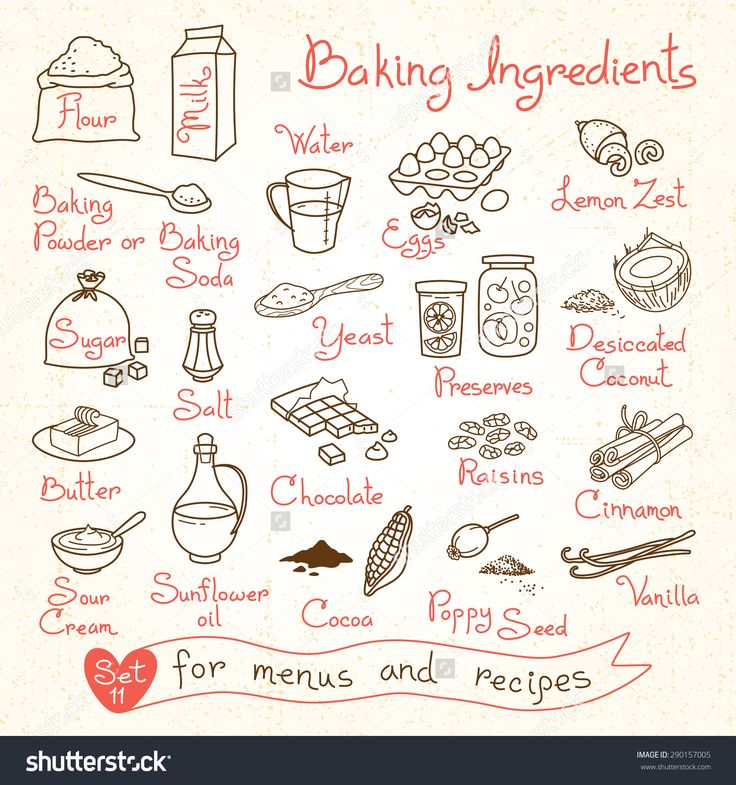 ... of baking ingredients for design menus, recipes. Vector Illustration