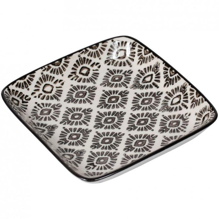 """Lot de 4 assiettes carrées, """"collection CORDOUE"""".  En céramique.  Coloris gris & blanc.  Pour une table chic et raffinée !  Dimensions : 12,5 X 12,5 cm  Compatible lave-vaisselle et micro ondes.  Une collection SEMA DESIGN"""
