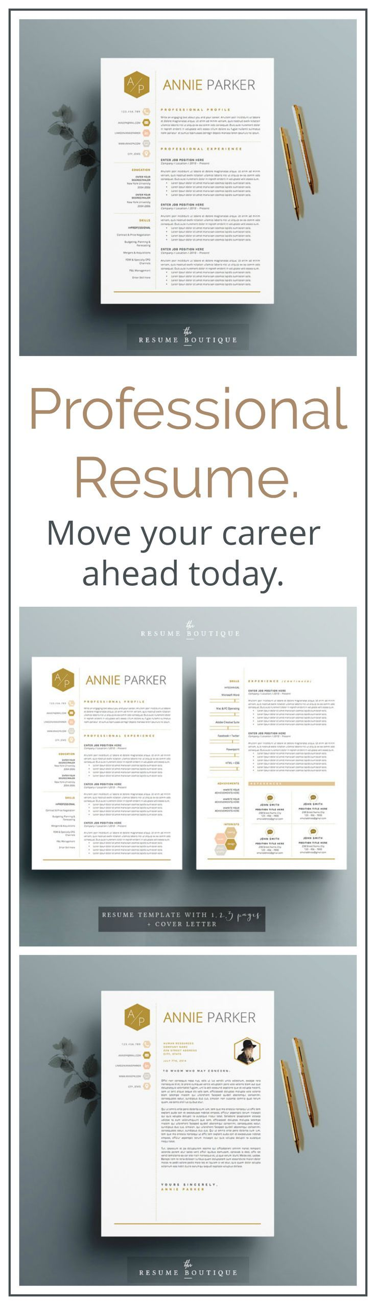 """Love the prestigious gold highlights in this resume! Will absolutely stand out from the others.  4 page Resume / CV Template + Cover Letter for MS Word 