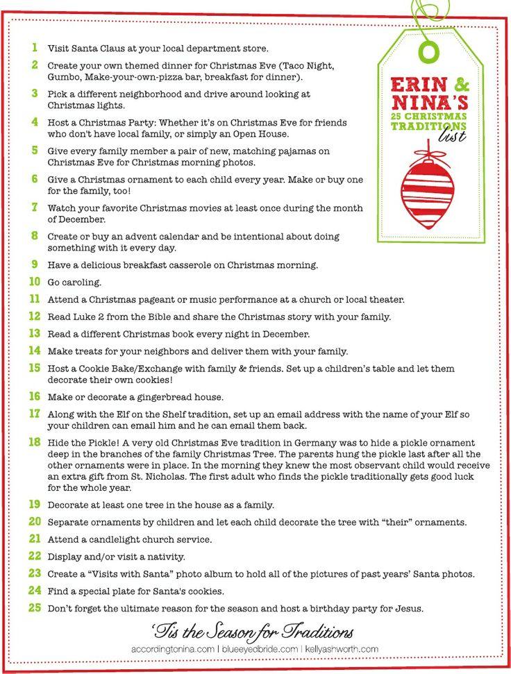 Erin and Nina's 25 Christmas Traditions List | Scribd