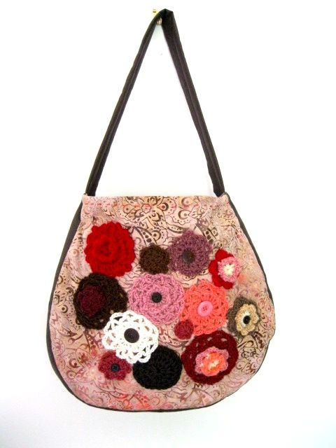 Fabric bag lined, with phone pocket and embellished with wool motifs and buttons. Made by Jenny, from Hook and Bobbin Bags