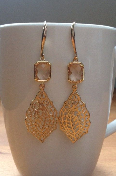 Matte gold leaf filigree and soft pink faceted by PetalJewels