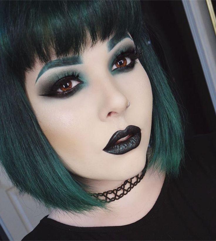 Instagram @dreronayne  | black lipstick makeup, black lips, green hair, colorful hair
