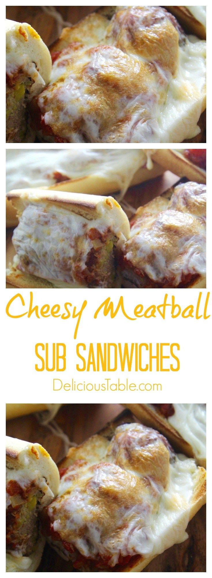 Cheesy Meatball Sub Sandwiches with turkey meatballs and a simple homemade marinara are perfect for a lazy weekend or a big game party like the Super Bowl.