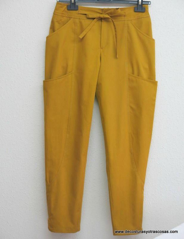 pantalón sport color mostaza con bolsillos y cremalleras Tutorial.