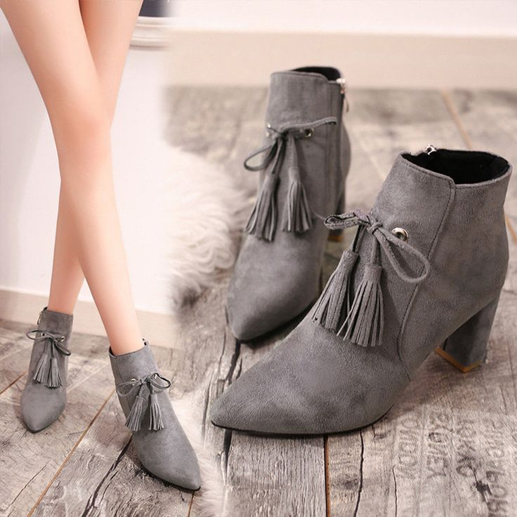 Charming Women High-Heeled Short Ankle Boots Fashion Matte Warm Heels Boot Shoes