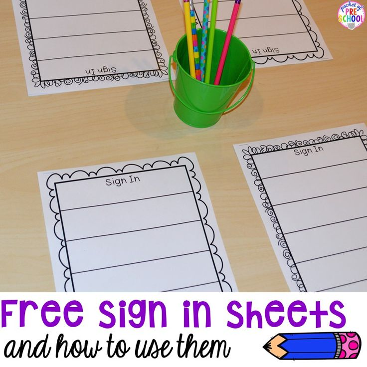 Free Editable Sign In Sheets for your preschool, pre-k, tk, and kindergarten classroom and ways to use them all over your classroom.