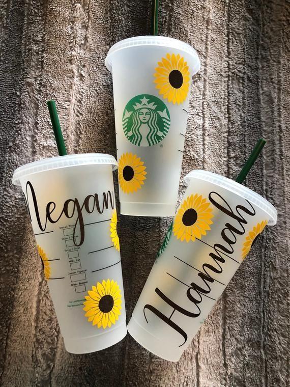 Sunflower Reusable Starbucks Cold Cup Shimmer Brown Golden Etsy Starbucks Diy Custom Starbucks Cup Starbucks Cup Art