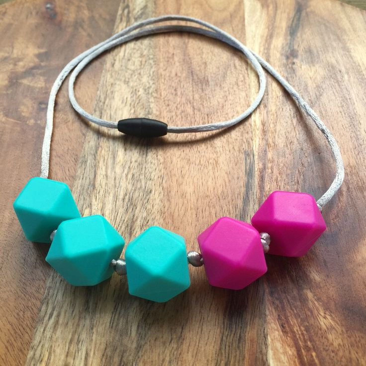 """Silicone bead nursing necklace with grey pink turquoise hexagon bead and silver satin cord - """"The Summer""""- baby shower gift - mothers gift by CrazyLikeFoxShop on Etsy"""