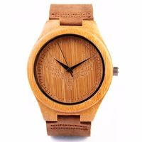 Top Brand Wooden Men's Watches READER Luxury  Bamboo case Watch Quartz Movement High-quality Wristwatch Raw Edge Leather Band