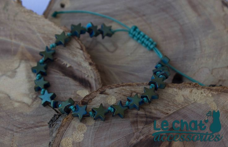 Cord bracelet with bluegreen hematite star beads...  #lechataccessories #handmadecreations #bluegreen #hematite #star #beads  © Danae Lolou  Find me on Facebook & Instagram : Le Chat Accessories for more photos. https://www.facebook.com/lechataccessoriesdanae/  https://www.instagram.com/lechataccessories/