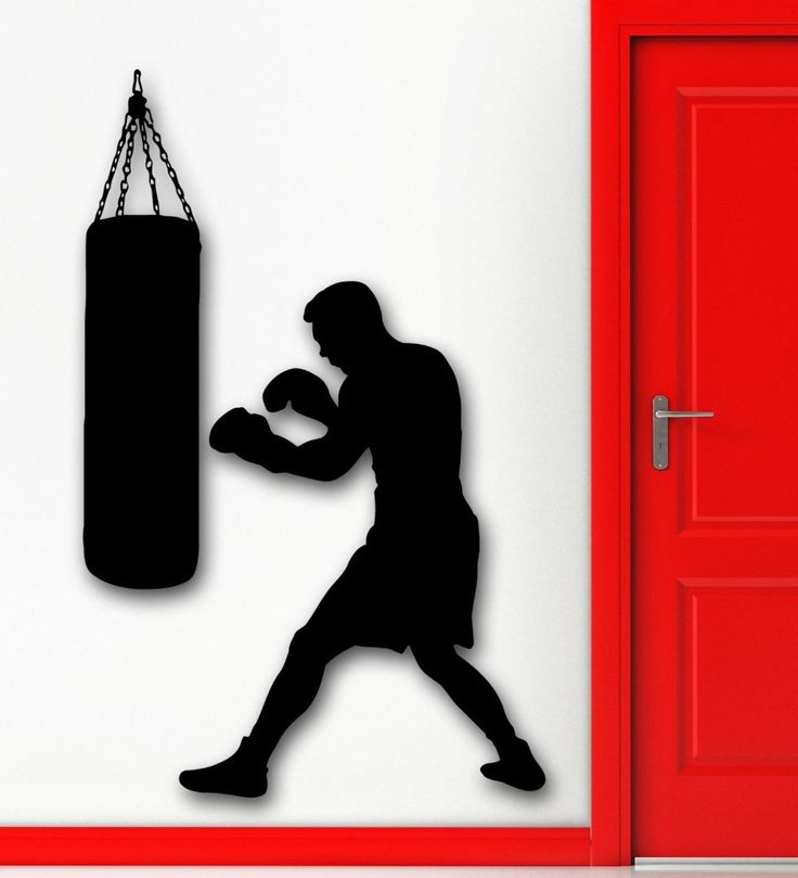 Free Shipping Boxing Boxer Sports Wall Decal Punching Bag Martial Sports Wall Sticker Vinyl Art MuraL KW-3343