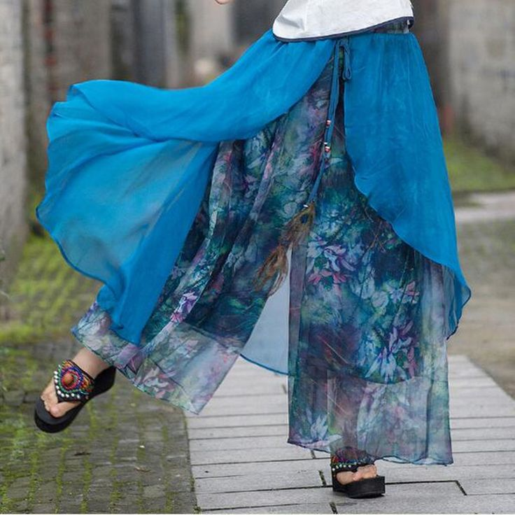 2017 Folk Style Wide Leg High Waist Pants For Women Print Loose Elastic Waist Casual Chiffon Fashion Casual Pants Art Retro -- AliExpress Affiliate's buyable pin. View the item in details on www.aliexpress.com by clicking the VISIT button