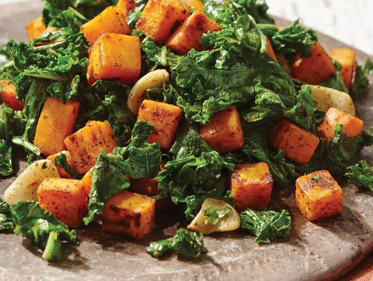 Kale and Sweet Potato Sauté | Recipes | Kosher.com  The sweet taste of sweet potatoes, the heartiness of kale, and the spice of chili and cumin combine for a delicious side dish that is perfect with grilled chicken, lamb or beef, or with our almond-crusted salmon. If there is any left over, top it with some fried or scrambled eggs for a breakfast hash that will keep you going all morning.