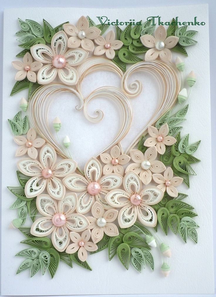 Greeting card for beloved quilling pinterest for Paper quilling designs
