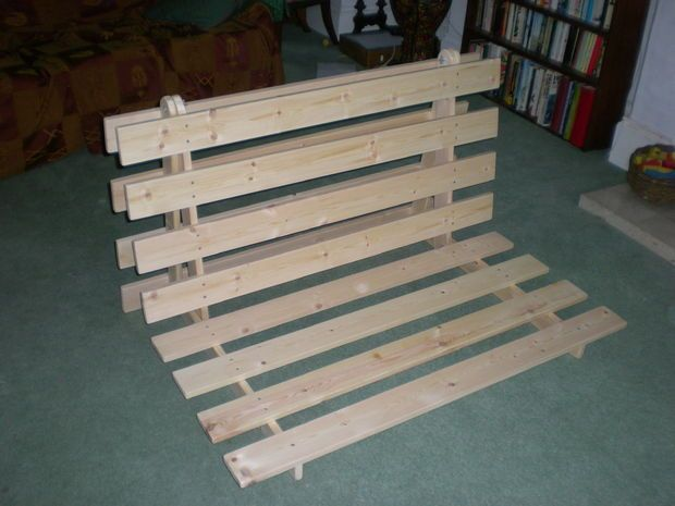 Picture of How To Make A Fold out Sofa/Futon/Bed Frame- Going to build this for ayannas room, a little higher off the ground for her to use a a couch and a guest bed.