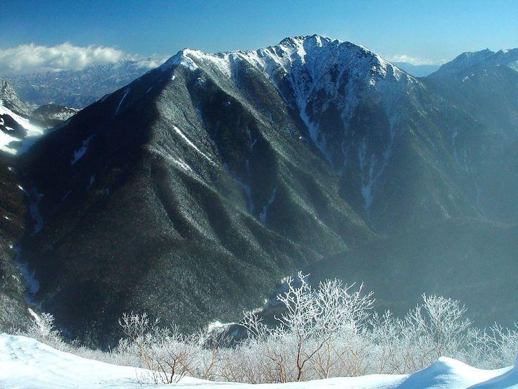 Japonsko, Hory, Zimné, Sneh, Ľad, Stromy, Obloha, Mraky