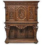 A monumental French Renaissance revival carved oak cupboard second half