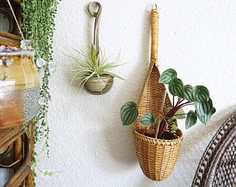 Large Vintage Long Handled Wicker Rattan Bamboo Wall Basket