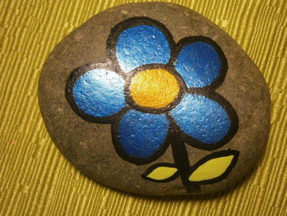 Painted rock Blue Flower by PlaceForYou on Etsy, $7.00