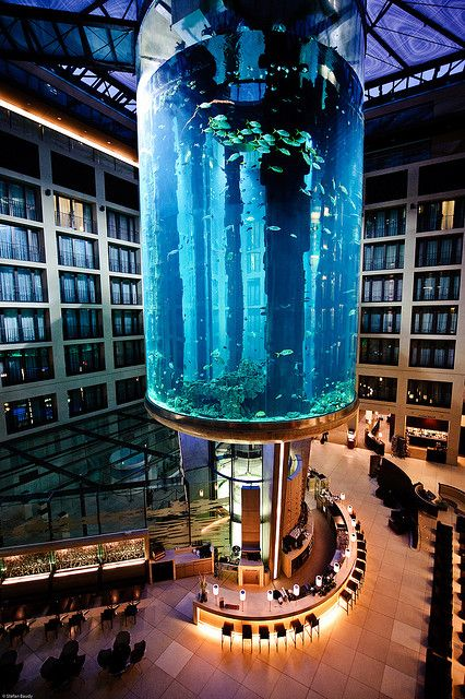 Radisson Blu Hotel - Atrium Lobby Lounge & Bar, Berlin  The Atrium Lobby Lounge Bar is situated in the heart of the hotel underneath the spectacular AquaDom, the world's largest cylindrical aquarium with one million litres of seawater.