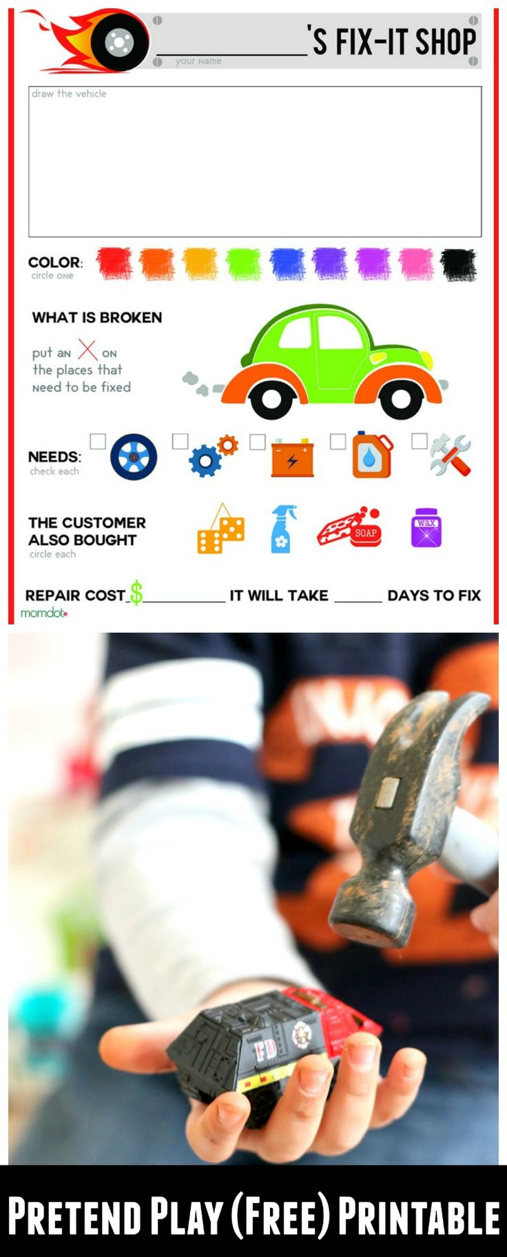 Mechanic play sheet perfect for Pretend Play, FREE PRINTABLE - break out the hot wheels and Fix them up~!