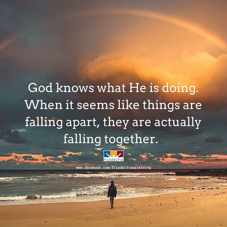 God knows what He is doing. When it seems like things are falling apart, they are actually falling together.