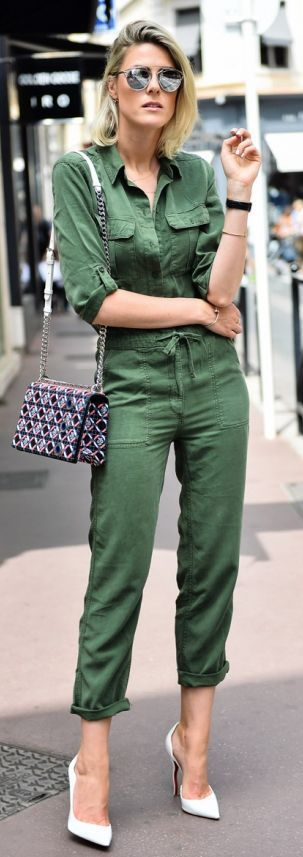 Army Green Jumpsuit Stylish Street style - Fashion...