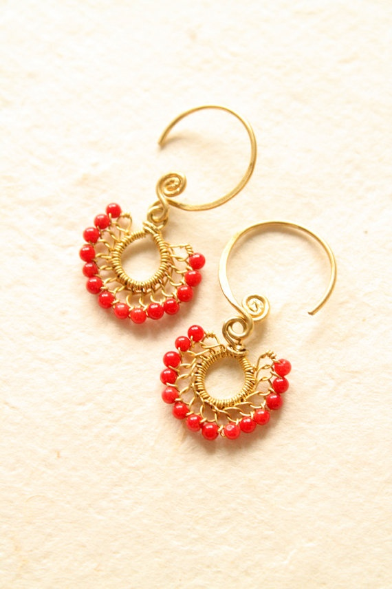 Petite Fan Red Coral Earrings