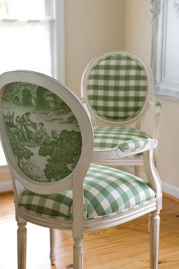 Green gingham and toile on French armchairs