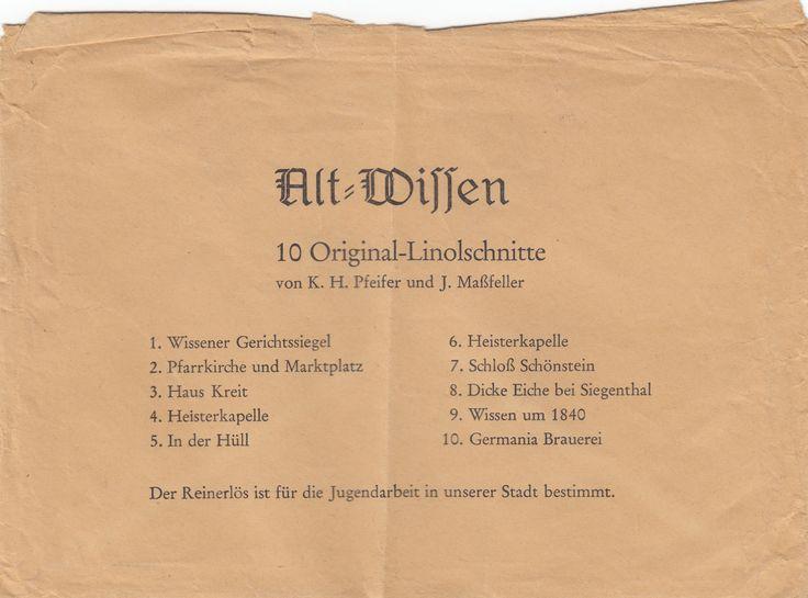 Hülle zu den Linolschnitt AKs Pfeifer / Maßfeller 1971 - Verlag R. Winters - Verlag und Vertrieb durch die Jugend der kath. Kirchengemeinde