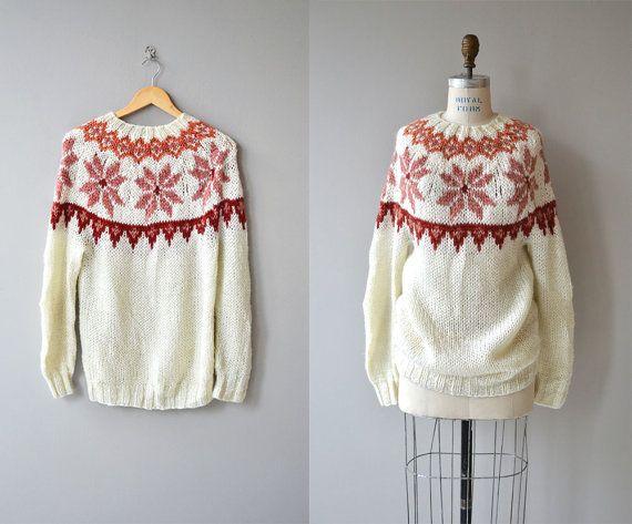 Suéter de copo de nieve rubor | suéter vintage de 1970 | suéter Vintage ski