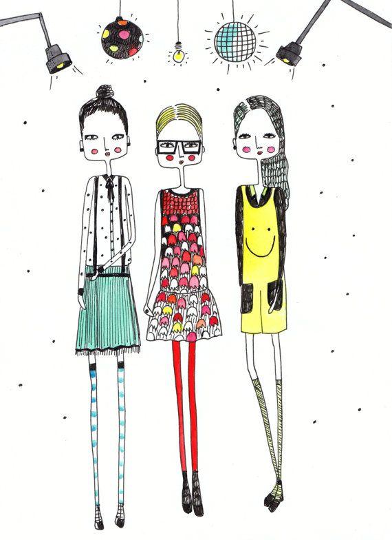 Mädchen Art Print, Mode-Illustration, Fashion Art, skurrile Kunst, Kunst für Kinder Kinderzimmer Kunst, Children's Art, Girls Room Art