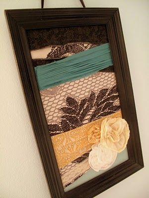 DIY wall decor... Love the idea of putting lace or burlap in an picture frame. Bam, art..done :)