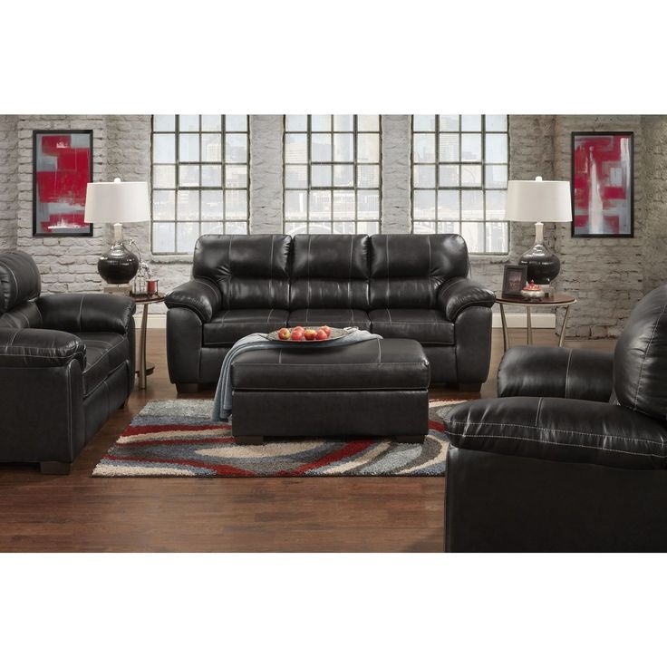 bobs living room sets%0A Leeds PU Leather Living Room Set with Sofa and Loveseat Set in Austin Black   Black