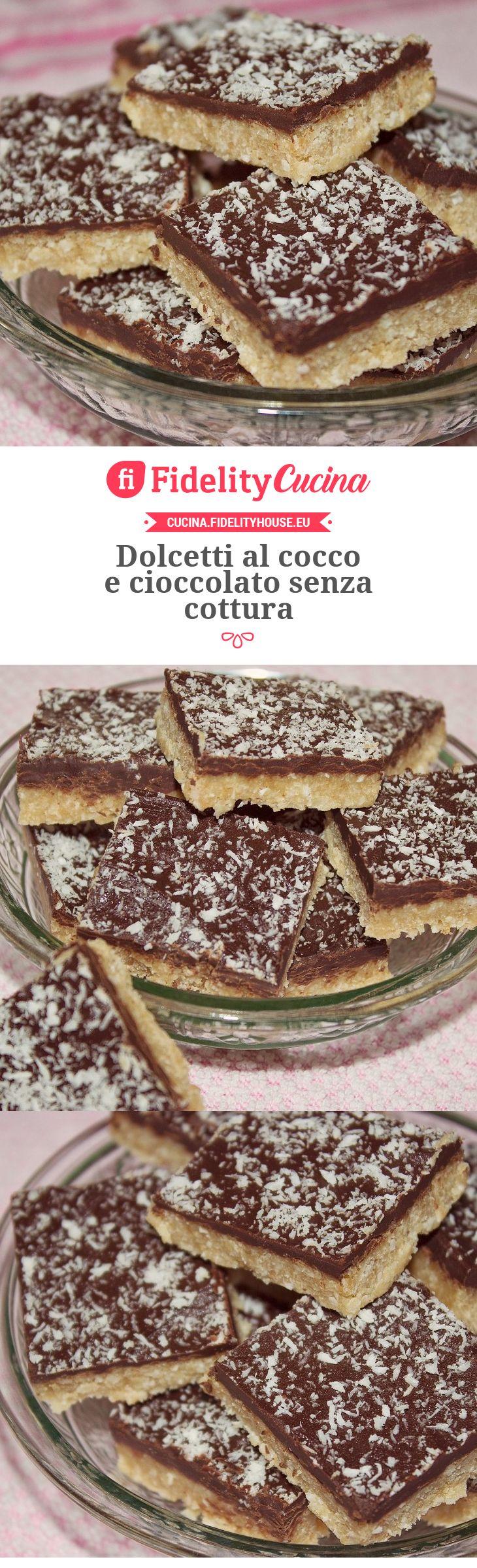 Dolcetti al cocco e cioccolato senza cottura