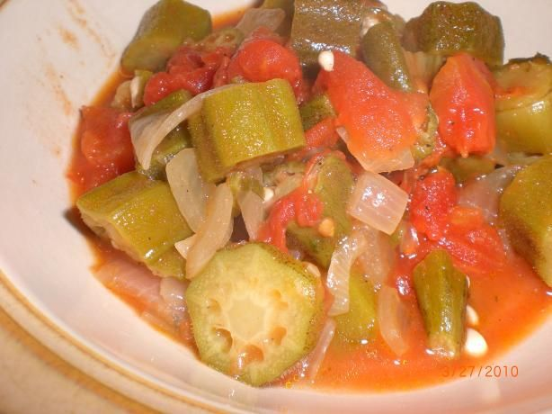 Okra and Tomatoes (A.k.a. Okra Gumbo). Photo by Mrs. Oliver