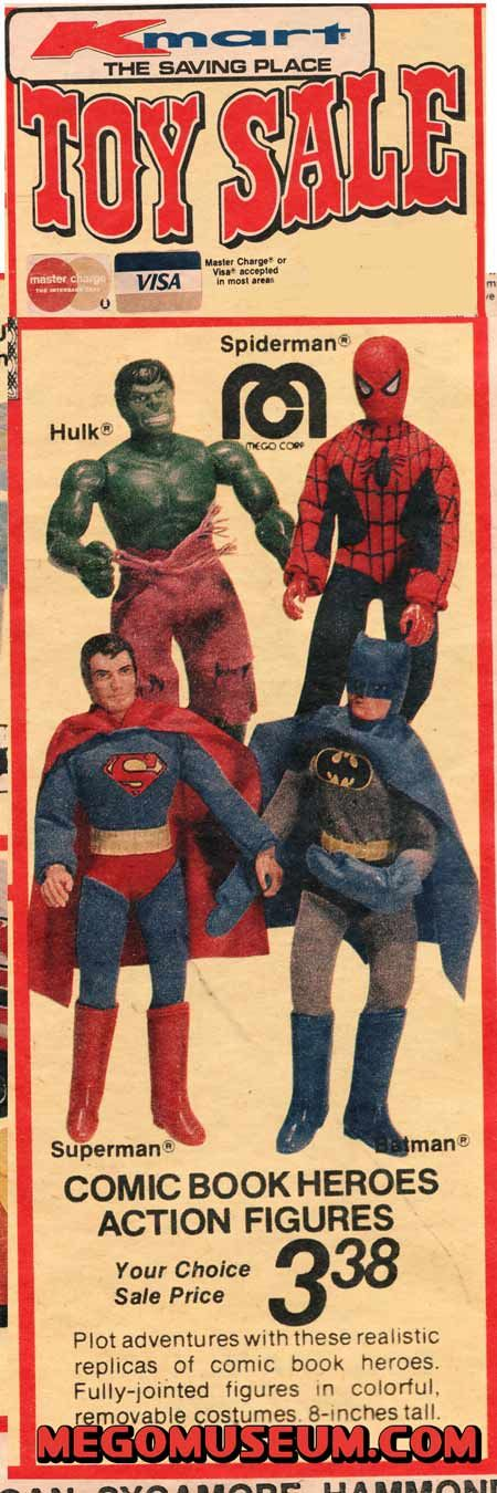 Toy Sale at K-Mart! Mego Comic Book Heroes $3.38. Hurry up with that time machine scientists!!