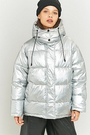Light Before Dark Metallic Silver Puffer Jacket - Urban Outfitters