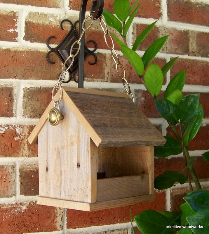 Bird Feeder, Recycled Wood Natural Weathered Rough Cedar, Rustic Primitive - Brass Chain. $20.00, via Etsy.