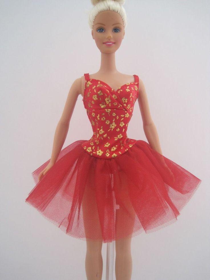 Barbie ballet ballerina red golden sheer dancer dress - Barbie ballerine ...