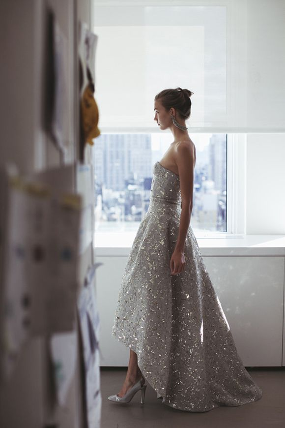 Karlie Kloss at Oscar de la Renta fitting