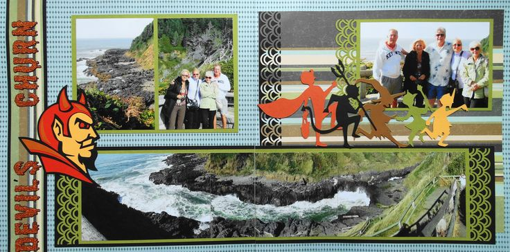 Scrapbook Page - Devil's Churn, Oregon Coast - 2 page road trip layout with panoramic photo and trick or treaters and the Devil -  from Travel Album 2