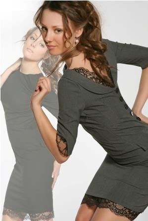Платье серое с кружевом
