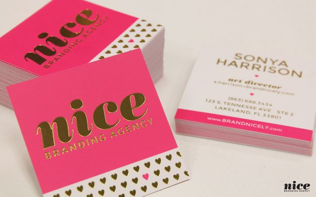 business card examples; Nice Branding Agency - pink and gold just look so beautiful! Nice use of the square shape. I like the one little pink heart.