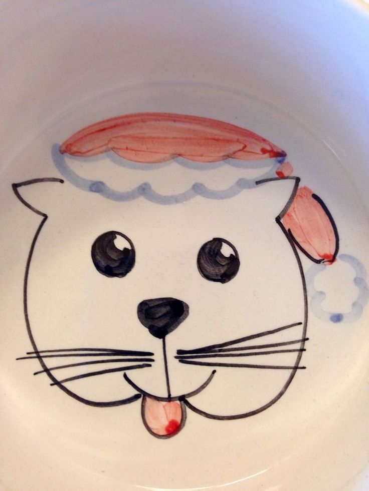 Santa Cat Ceramic Pet Dish White Hand Painted Christmas Food Kitty Bowl Italy #Unbranded