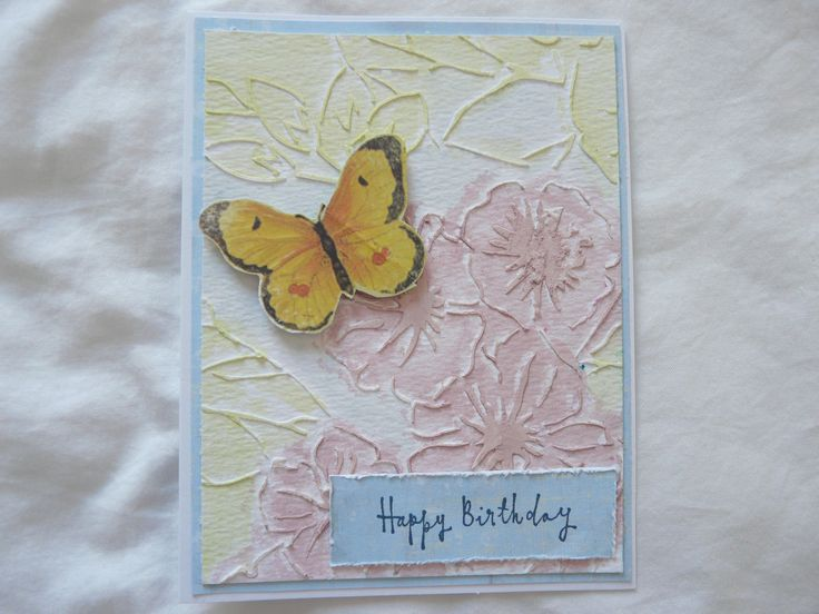 Birthday card 2016 watercolour with stencil/modeling paste background