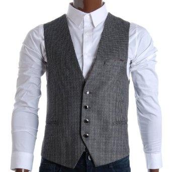 http://amzn.to/10l827t: FLATSEVEN Mens Slim Fit Check Premium Waistcoat (VE284): Clothing
