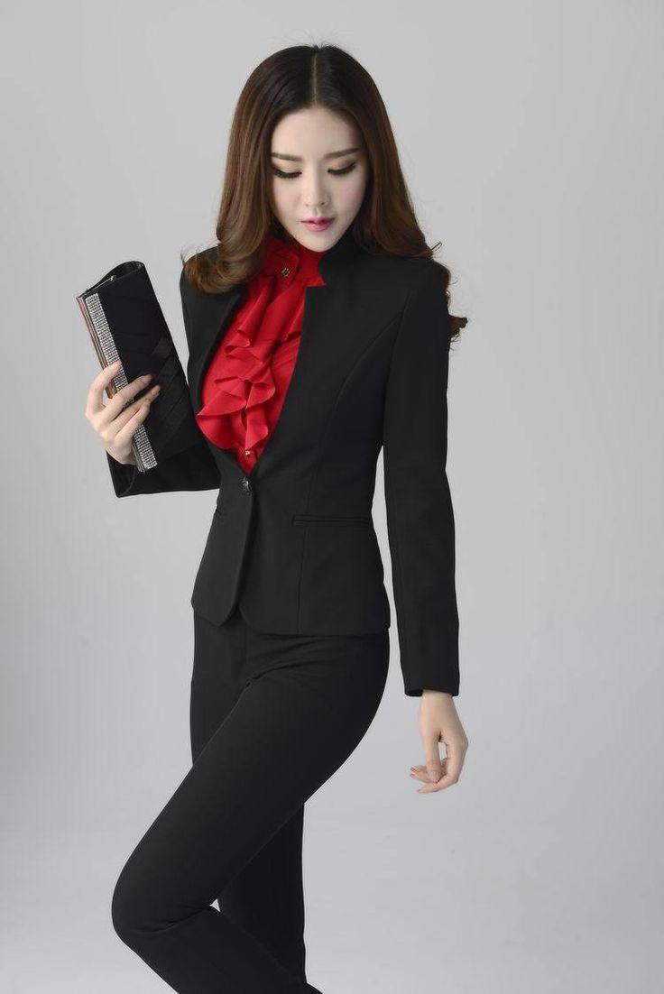 Новых 2015 осень зима брюки костюмы для женщин костюмы с брюки и куртка блейзер устанавливает офис единый дизайн женский брючный костюм